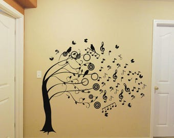Wall Decal Sticker Decor Music Tree Music Notes Bedroom decor 389t