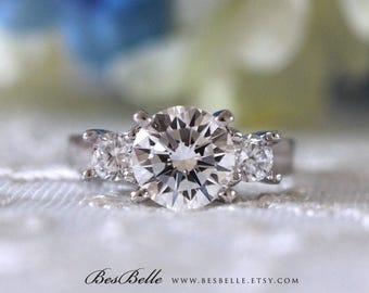 3.16 ct.tw Classic 3 Stones Engagement Ring-Brilliant Cut Diamond Simulants-Bridal Ring-Wedding Ring-Anniversary Ring-Sterling Silver [6412]
