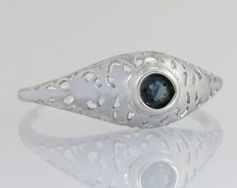Antique .12ct Genuine Sapphire 14K White Gold Filigree Art Deco Engagement Ring