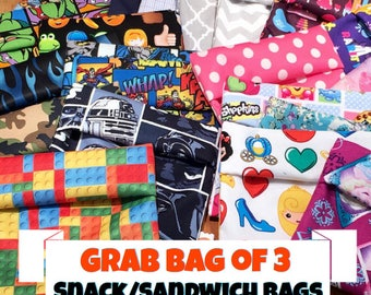 Snack Bags, Sandwich Bags, Lunch Bags, Reusable Snack Bags, Grab Bag of 3 - Water Resistant/Dryer Safe!