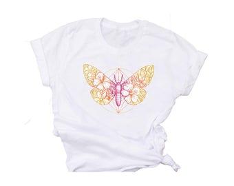 Moth Butterfly T-Shirt-Womens Boho T-Shirt-Boho Butterfly Crew-Neck T-Shirt