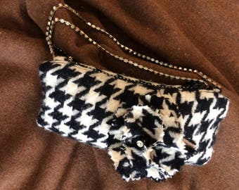 Black and white wool Houndstooth small bag