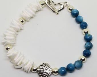 Ocean Blue Agate & Seashell Chips