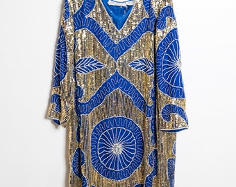 SALE Scala Silk Beaded Sequined Blue and Gold Gypsy Great Gatsby Art Deco Dress Free Size
