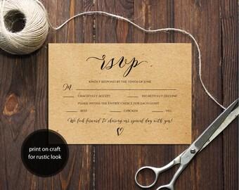 Pdf Template 3,5x5 RSVP Card INSTANT DOWNLOAD Wedding Rsvp postcards online calligraphy Editable wedding Rsvp Cards Printable Digital