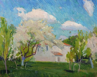 ORIGINAL OIL PAINTING by Borymchuk M. 1960s Spring Rural Landscape, Blooming Garden, Impressionist Art, Vintage Handmade Unique artwork