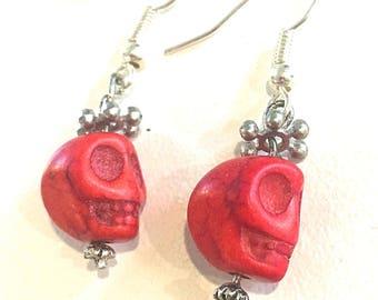 Red Skulls Earrings