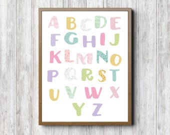 Alphabet Girls Room /Nursery Wall Art - Printable Alphabet Chart- Letters With Various Patterns- Classroom Decor - 16 x 20 -11 x 14 - 8 x 10