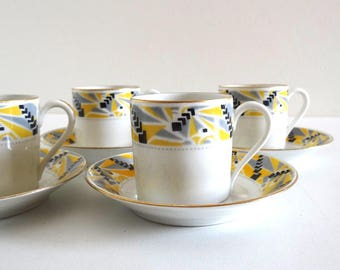 4 Vintage Art Deco Yellow and Black Coffee Cups in French LIMOGES Porcelain