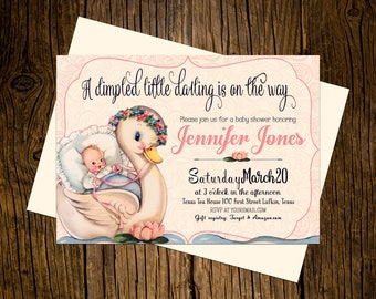 Swan Baby Shower Invitations Personalized Custom Printed Set of 12 Party Invites Vintage Ecru Pink Girl Dimpled Darling