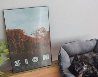 Zion National Park Retro Poster 11x17