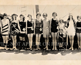 "1924 Jewel Pathe's Bathing Beauties Pirates Balboa Beach CA Panoramic Photo 7"" x 33"" Lonng"
