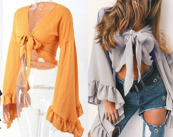 Cropped Tie Top Ruffle Flared Long Sleeves