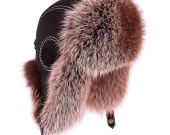 Men's hat made of fox fur Blue-frost Aviator, Pilot