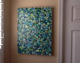 Out of Blue Comes Green ...Abstract painting, original painting,acrylics,1980's. and enamels on canvas 18x24