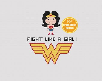 Wonder Woman Cross Stitch - Fight Like A Girl - Feminist - Cross Stitch Pattern - PDF File
