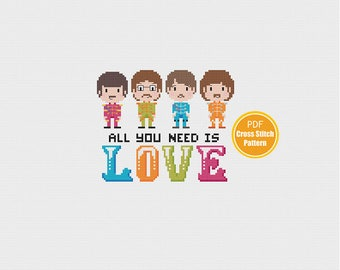 Beatles Cross stitch Pattern - Love Cross stitch - PDF Instant download - All you need is love