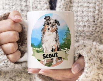 Australian Shepherd Custom Dog Mug - Get your dogs name on a mug - Dog Breed Mug - Great gift for dog owner - Australian Shepherd mug