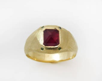 Gold ruby ring, bohemian Ring, engagement ruby ring, solid 18k ring, pinky Ring, red ruby ring, rectangle stone ring, unique ring for her
