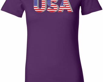 Ladies USA 3D Longer Length Tee T-Shirt USA3D-6004