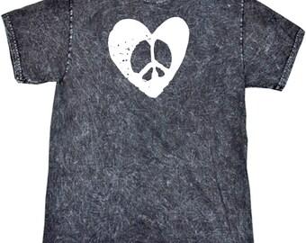Funny Adult Hippie Heart Peace Mineral Tie Dye Tee T-Shirt HIPPIEHEART-1300