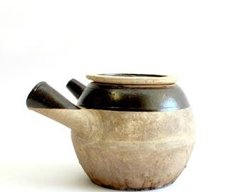 Chinese Herb Pot, Primitive Jug with Handle & Spout, Rustic Home Decor