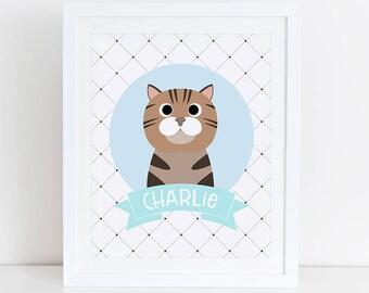 British Shorthair Cat Print, Custom Cat Portrait, Custom Cat Art, Personalized Cat Art, Cat Art Print, Cat Printable, British Shorthair Art