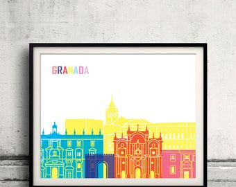 Granada skyline pop - Fine Art Print Glicee Poster Gift Illustration Pop Art Colorful Landmarks - SKU 2465
