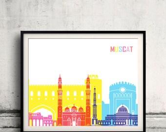 Muscat skyline pop - Fine Art Print Glicee Poster Gift Illustration Pop Art Colorful Landmarks - SKU 2513