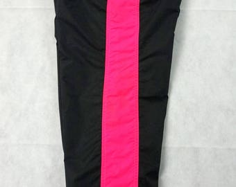 Vintage Columbia Sportswear Snow Pants Rare Neon Pink Black Neon Green Women's Large - 100% Nylon Elastic Waist Lined Snow Pants Rare