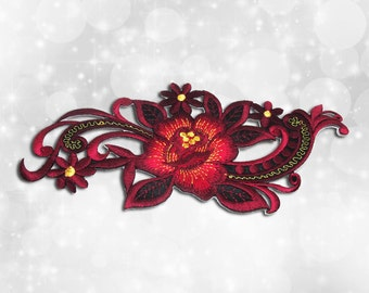 "Flower Iron on Patch (L1), Flower Embroidered Applique Patch, Dress Decoration Appliques-Size 7 1/2""(W)x3 3/8""(H)"