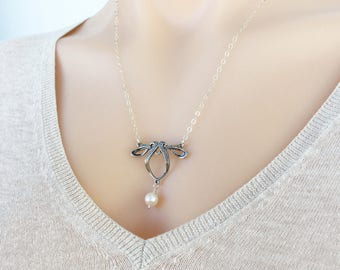 Vintage Style Silver Art Nouveau Freshwater Pearl Drop Necklace, Real White Pearl Necklace, June Birthstone Necklace