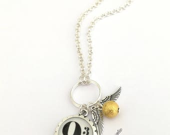 Harry Potter Necklace, Quidditch Jewelry, 9 3/4 Necklace, Golden Snitch Necklace, 9 3/4 Platform, Golden Snitch Jewelry, Potterhead Gift