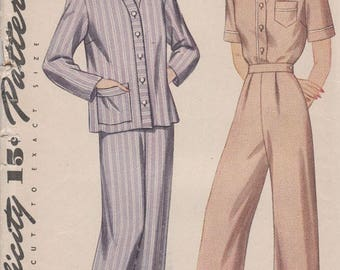 Vintage 1930s Misses and Womens Simplicity 4888 Pajamas Sewing Pattern Size 18 Factory Folded