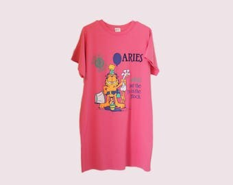 70's Shirt Dress, Garfield Aries Oversized T-shirt, Pink Party Shirt, 90s Club Kid, Rave, Aesthetic, Tumblr, one size