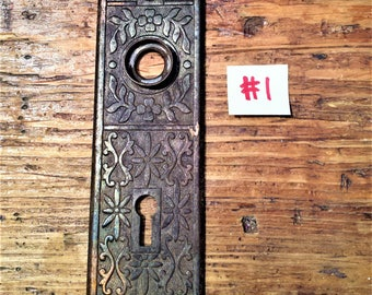 Antique, Eastlake Style, Iron Door Plates