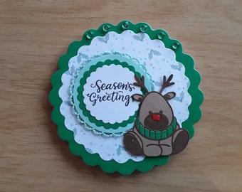 3D Rudolph Christmas Card, Layered Christmas Card, Luxury Christmas Card, Reindeer Christmas Card, Special Christmas Card