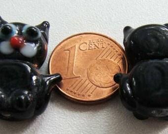 2 Perles Verre Lampwork CHAT Noir animal chaton DIY création bijoux