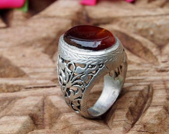 antique handmade Silver Carnelian stone turkmen statement AQEEQ  ring from Afghanistan No:444