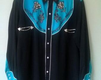 1950s Cowboy Joe Rayon Western Shirt L
