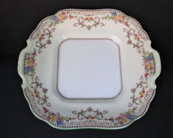 """Rare Minton Shaftesbury Square Cake Plate, B1223/ Vintage brown bands & scrolls serving plate with green handles/ 9"""" wide"""