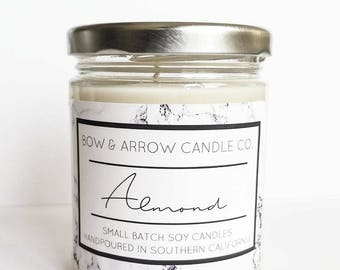 Natural Soy Candle Almond Scented | 7 oz Jar Candle | Almond Scented Candle | Almond Oil | Sweet Candle | Scented Soy Candle | Gift Ideea