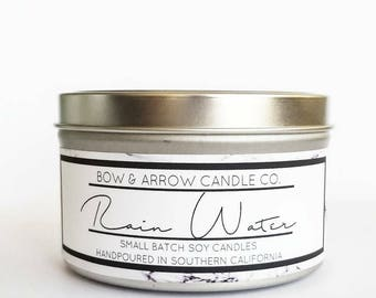 8 oz Natural Soy Candle Rain Water Scented   8 oz Tin Candle   Rain Water Soy Candle   Floral Scented   Scented Soy Candle   Soy Candles