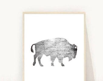 Buffalo Print, Bison Print, Buffalo Wall Art, Buffalo download, Printable Art, Instant Download, Wall Decor, Animal Print