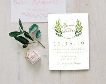 Personalised Printable Card, Save the Date Card, PDF, Green Wreath - Marcella Collection