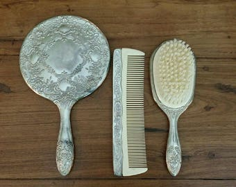 Antique 1940's Sterling Silver & Celluloid Three Piece Vanity Set Hand Mirror Comb Hair Brush Boudoir Beauty Ornate Dressing Victorian Trio