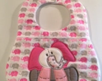 Girl Baby Bib, Shower Gift for Baby Girl, Pink Baby Bib, Elephant Baby Bib