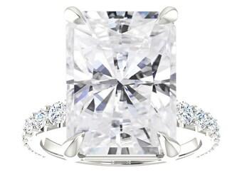 9.30 Carat Radiant Cut Forever One Moissanite & Diamond Pave Engagement Ring 14k White Gold, 18k or Platinum, Anniversary Rings, 14x10mm