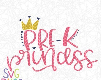 PreK Princess SVG, Back to School, Preschool, 1st Day of School, Girl, Cute, Crown, Handlettered Original, Cricut & Silhouette Cut File, DXF