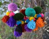 Colourful vegan POM POM bag CHARM / handmade rearview mirror car charms / boho hippie keychain decoration / cotton rainbow large keyring